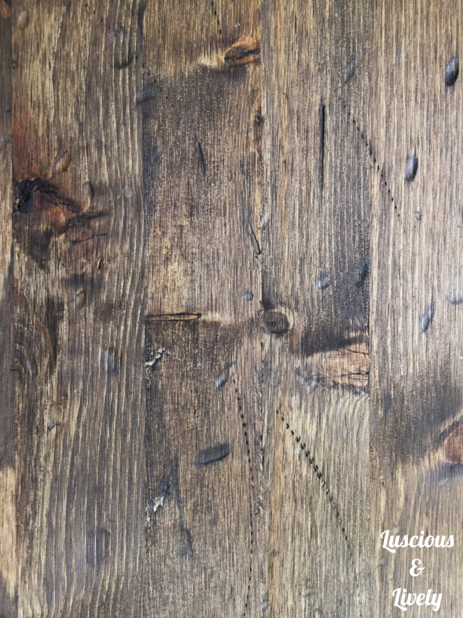 close up of stained and distressed wood
