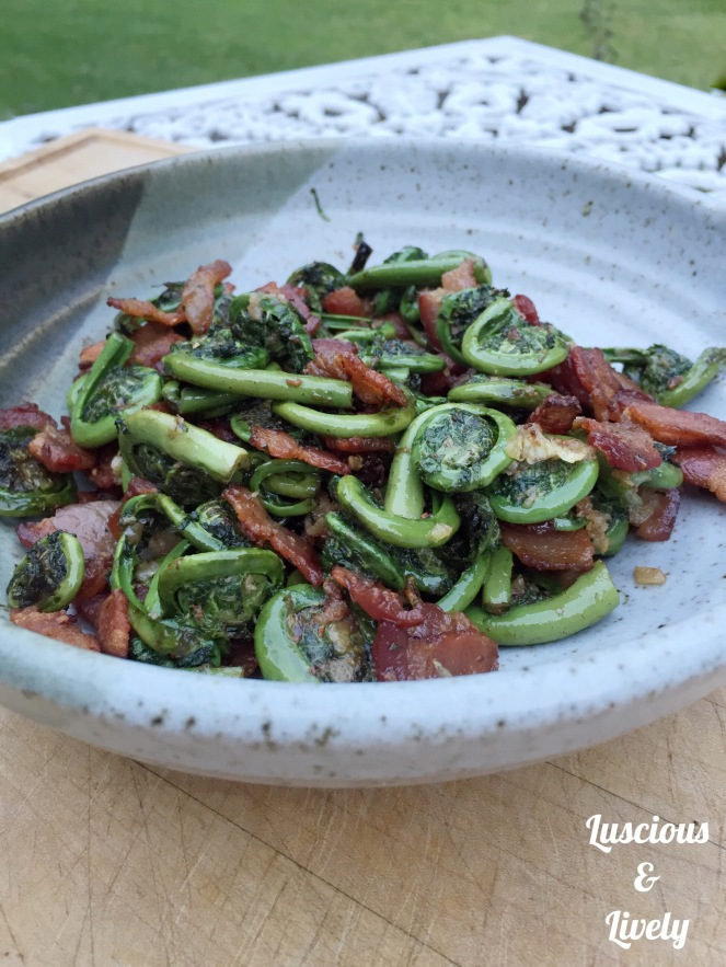 barbecued fiddleheads in a bowl