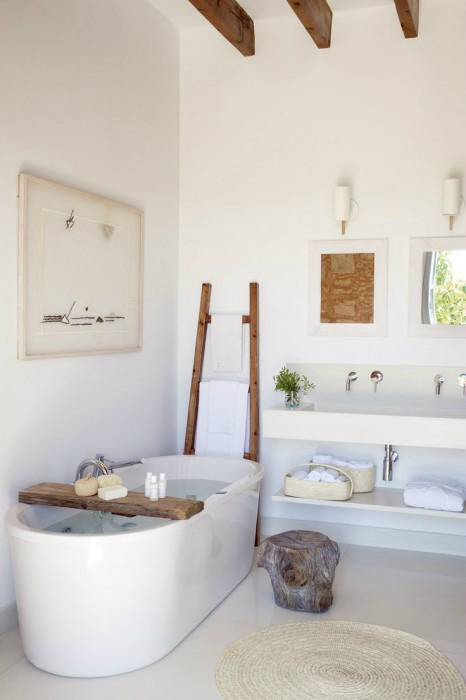 white bathroom with wood accents