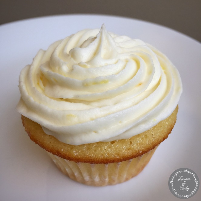 Top view of a lemon cupcake