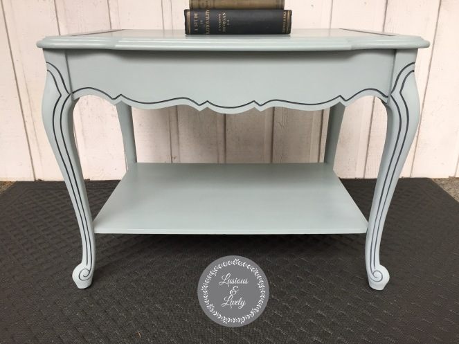 Side view of painted side table